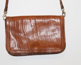 Cross Body Satchel Bag Retro 70s Bag Vintage Leather Saddle Bag Everyday Handbag Brown Women Purse 1970s Fashion leather cross body bag
