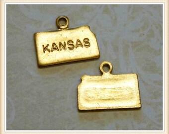 Kansas 12 pcs raw brass state charm KS