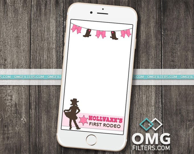 Cowgirl Custom Snapchat Geofilter - Any Event! Birthday / Baby Shower