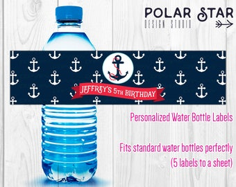 Little Sailor - Personalized Nautical Boy Birthday Water Bottle Labels - Navy Blue, Anchor, Marine - Printable Digital File (WBL64)
