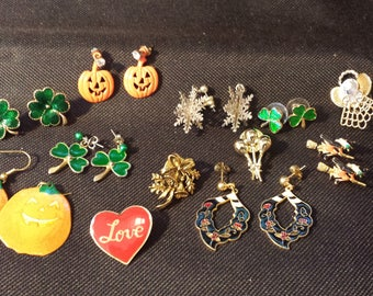 Vintage HOLIDAY EARRINGS and PINS Group