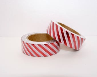 Masking Tape Foil Washi Tape White with red stripes - Christmas gift - packaging - decoration - wedding