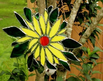 Suncatcher, Stained Glass, Abstract design of Yellow Flower, Bright & Beautiful.  Hand Made.