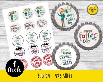 COD168-50% OFF SALE Father's day Collage Sheet-1 inch Bottlecap-Printable Image Download for pendants magnets party bottle cap