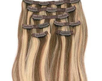 Light Brown with Golden Highlights: Clip In Human Hair Extensions, Color #P8/24