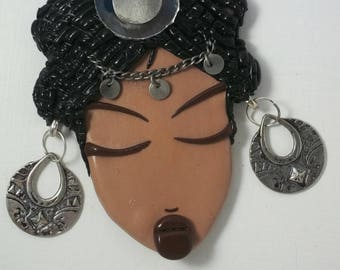 """RESERVE coin pendant for jewelry """"Goddess"""" polymer clay, chains, charms."""