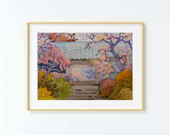 Original Watercolor Painting, Japanese Garden , Watercolor Painting, size 9in x12in