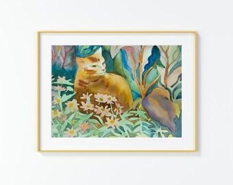 Original watercolor,cat in the garden , flowers,cat,