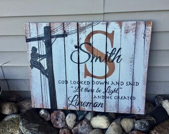 Lineman Welcome Pallet Sign