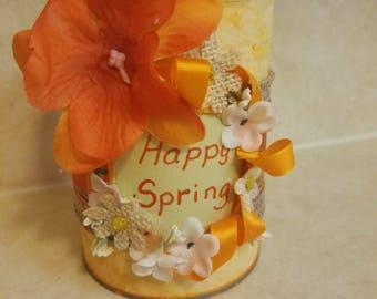 HAPPY SPRING upcycled tin can in yellow and orange