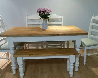 Pine Farmhouse Dining Table with chairs and a matching bench
