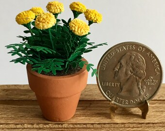 Dollhouse Miniature Yellow Marigold Artist Made