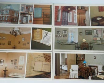 "Set of 15 color postcards ""House-Museum of Chekhov in Moscow"" 1982"