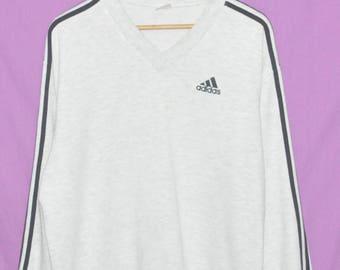 Vintage 90s Adidas Three Stripes V Neck Sweatshirt Sweater