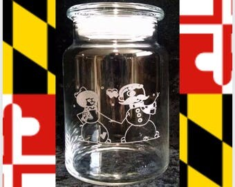 Snow Boh Couple Candy Jar, 31 oz.