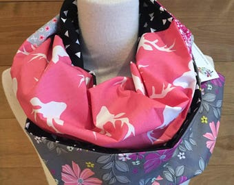 Foulard infini patchwork cerfs rose