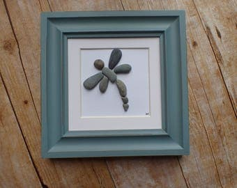 Dragonfly pebble art picture / Dragonfly gift / Dragonfly wall art / Self realization / Rock art / Stone art