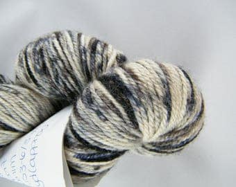 25% Silk - Sport Yarn - Denim Colourway - 75 Percent Blue Faced Leicester - Blue and Black - Handpainted in Canada - 291 yards - 100g #447