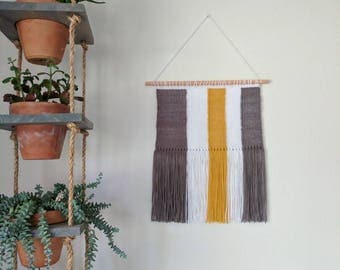 Grey, White & Mustard Woven Wall Hanging | Mustard, White and Grey Striped Wall Hanging | Grey, Mustard and White Wall Tapestry