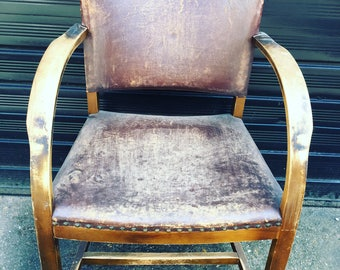 Leather arm bentwood chair