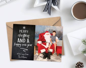 Christmas Photo Card Printable - Xmas Gold Sparkle Confetti with photo Personalized Template Season greetings Digital File Rustic Chalkboard