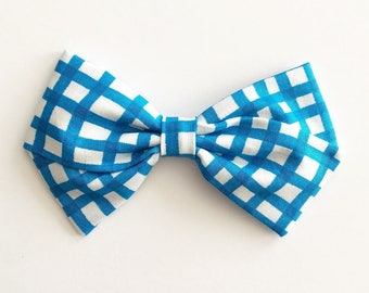Baby Girl, Toddler, Girls Fabric Bow Headband or Hair Clip - Royal Gingham