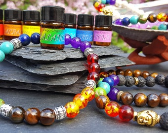 Chakra Kit ~ 8 Essential Oil Blends! ~ Pure Organic, Undiluted Essential Oils + 1 FREE Chakra Braclet + Palo Santo Shavings!
