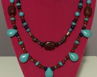 Genuine Gemstone Double Strand Necklace Turquoise Carnelian Lapis Lazuli