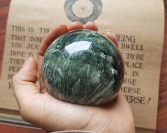 "Seraphinite Clinochlore Self Standing Sphere 2.8"" /7.3cm - Angelic Heart Chakra Healing Stone"