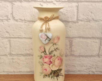 Pink Rose Decor, Shabby Chic Decor, Vase Pink Rose, Cream Decor, Shabby Chic Pink, Ceramic Vase, Pink Roses Vase, Shabby Chic Vase,
