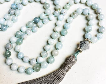 Aquamarine Mala Necklace | Mala Beads | 108 Mala Beads | Mala Jewelry | Boho Jewelry | Aquamarine Jewelry | Aquamarine Necklace | Birthstone