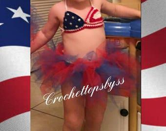 Infant Girls' USA Crochet Top & Tutu/USA Infant Girls' Outfit