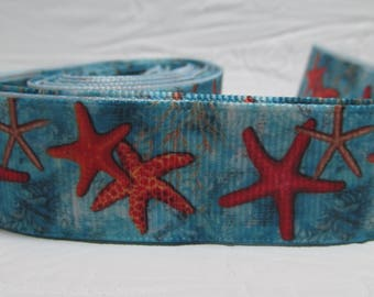 "Grosgrain ribbon 7/8"" Starfish under the Ocean, Seaside, Salt Water sold by the yard"