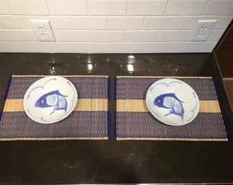 "Vintage Blue Koi Chinese 9"" Bowls"