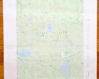Antique Vermilac, Michigan, 1985 US Geological Survey Topographic Map – Covington, Copper Country State Forest, L'Anse, Worm Lake, Baraga
