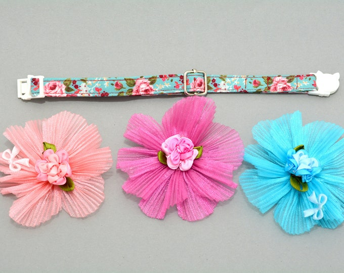 Featured listing image: cat bow flower gift for cat kitten bow and collar for cat - floral cotton cat collar - organza flower bow for cat - cute cat bows