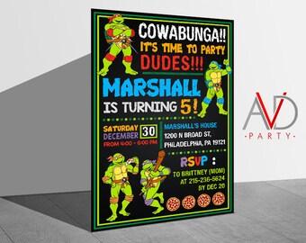 Teenage Mutant Ninja Turtle Birthday Invitation, TMNT Birthday, Teenage Mutant Ninja Turtle Invitation, TMNT Invitation, Birthday Invitation