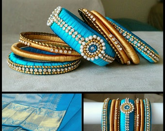 Fancy Silk Thread Bangles ~ BLUE and GOLD  - A set of 22 Handmade Silk Bangles ~ Ethnic Indian Accessory ~ Return Gifts - Bridal Jewelry