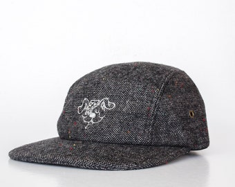 Doggy 5 Panel Grey Tweed Wool Cap