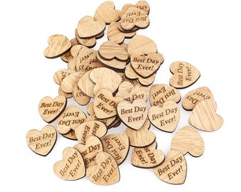 Mini Best Day Ever Wood Hearts, Wood Confetti Engraved Hearts- Rustic Wedding Decor- Table Decorations- Tiny Wooden Heart