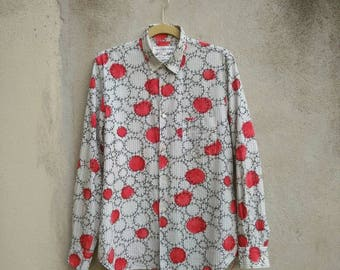Comme des Garçons Shirt Vintage Rare Polka dot Multicolor Cotton Comme des Garçons Homme Plus Button Shirt CDG Medium