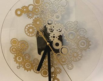Clock Steampunk gold and silver