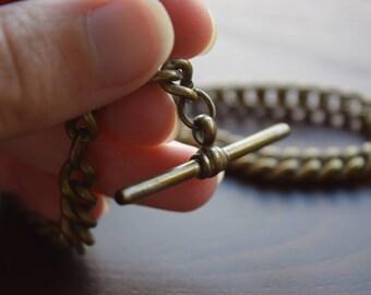 Antique Unmarked Victorian Era Sturdy Brass Watch Chain with Clip