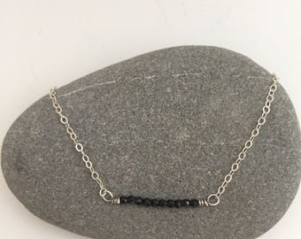 Onyx Bar Layering Gemstone Necklace on Delicate Gold Chain