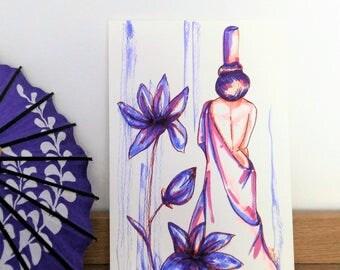 """Aquarelle """"Violette de Printemps"""""""