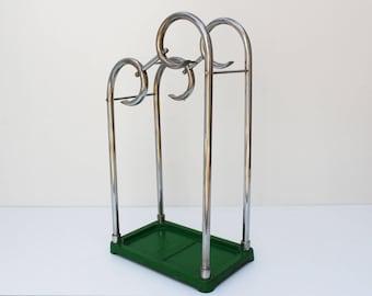Antique Art Deco Chrome Umbrella stand Umbrella holder Gispen Bauhaus era Art nouveau 1920 1930 entry hall Walking stick stand