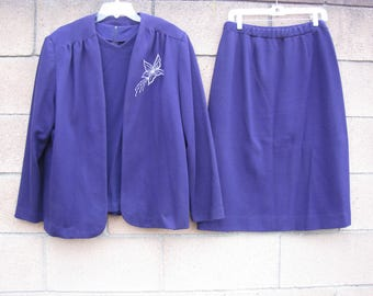 Womens Graff California Wear 3 Piece Suit Jacket Skirt Top Purple with Embroidered Flower XL (see condition)