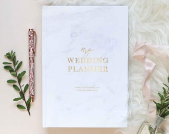 Luxury marble wedding planner book, engagement gift for brides, wedding scrapbook, gift for brides, wedding checklist, wedding organizer