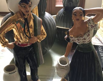 Mexican male and female California pottery figures