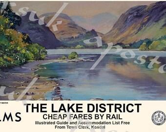 Vintage Style Railway Poster Lake District Derwent Water A3/A2 Print